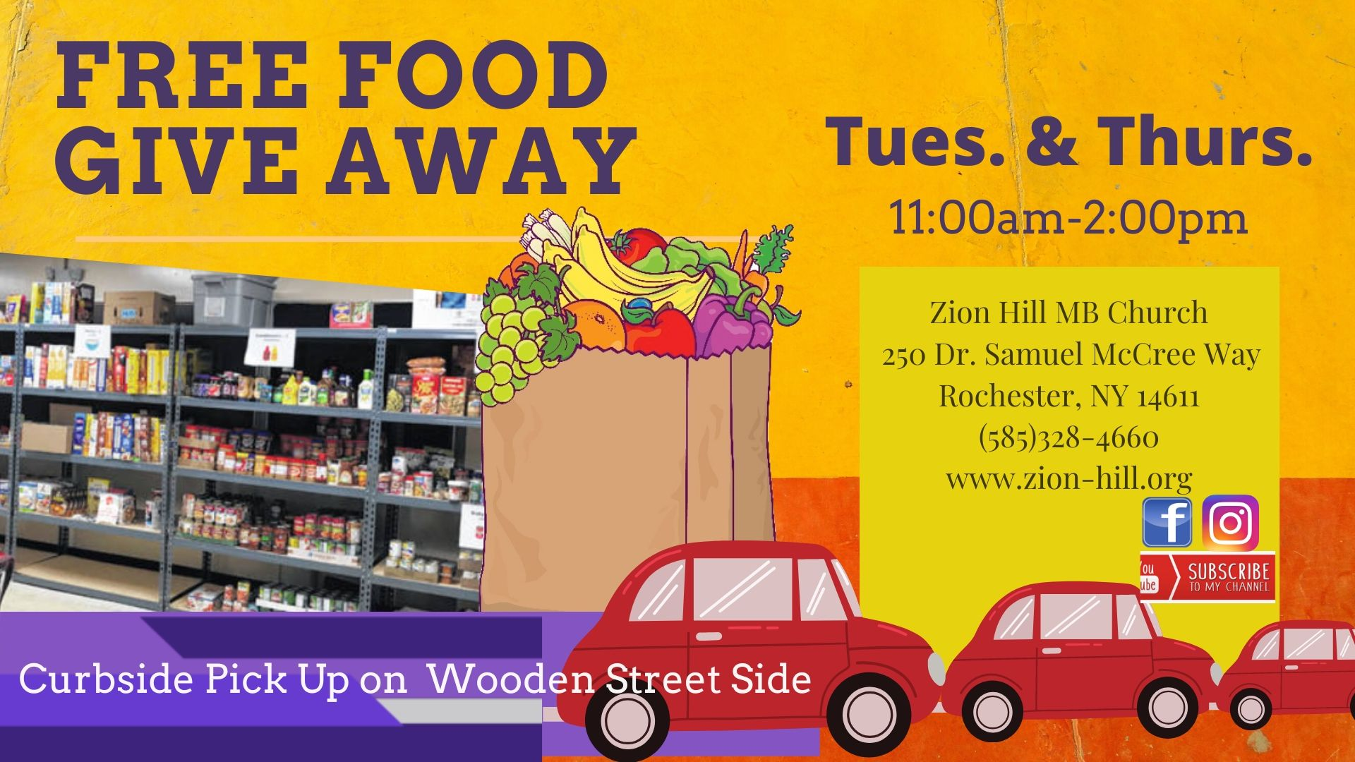 Free Food Giveaway| April 10th 11am-1:00pm| at Zion Hill